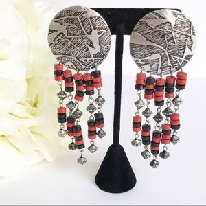 Southwest Boho Silver Tone Beaded Clip Earrings